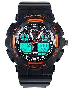 30m Water-proof Digital-analog Mens Boys Girls Students Digital Quartz Watch Orange