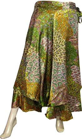 Printed India Wrap Skirt Womens Silk Indian Clothes (Multicolor, One Size)