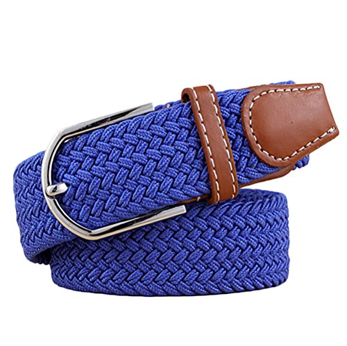Nanxson(TM) Men's Elastic Woven Stretch Belt Leather Inlay PDM0003 (royal blue) (Ax Belt compare prices)