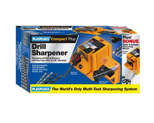 Buy Plasplugs DSH403US Compact Plus 1 Amp 7/64-Inch to 3/8-Inch HSS and Masonry Drill Bit Sharpener with Knife and Scissor Modules