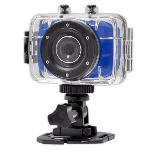GearPro HighDefinition Sport Action Camera, 1080p 720p WideAngle Camcorder With 2.0 Touch Screen  SD Card Slot, USB Plug And Mic  All Mounting Gear Included  For Biking, Riding, Racing, Skiing And Water Sports, Etc.  BLUE Picture