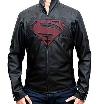 Bat vs Super Black PU Leather Jacket for Man (XS)