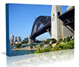 Sydney Harbour Bridge Australia Framed Canvas Print - Contemporary Art - Gallery Wrapped Framed Ready to Hang, 16 inch x 24 inch