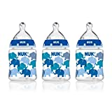 NUK 14059 Elephants Baby Bottle with Perfect Fit Nipple, 5 Ounces, 3 Pack