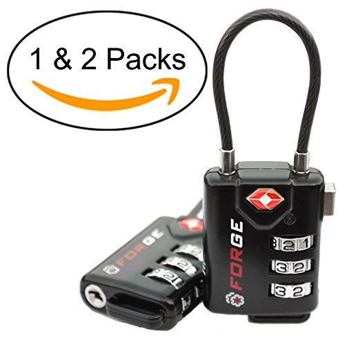TSA Approved Cable Luggage Locks, Re-settable Combination with Alloy Body
