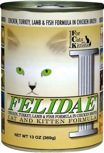 Felidae Canned Cat Food for Adult Cats and Kittens, Formula with Chicken, Turkey, Lamb and Ocean Fish (Pack of 12 13 Ounce Cans)