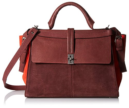 Carven-Womens-Grained-Velvet-Leather-Bag-Burgundy