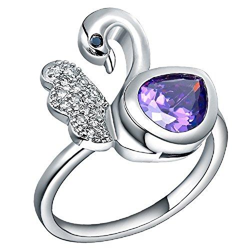 Bling fashion di alta qualità Shy Swan design con zirconi viola anello donna, placcato oro bianco 18K, base metal, 19,5, cod. 54ygxianjz4-9