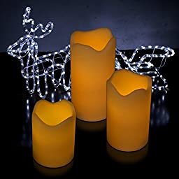 Kohree 3 Pack of Ivory Flameless Pillar Candles with Remote and Timer, LED Candle