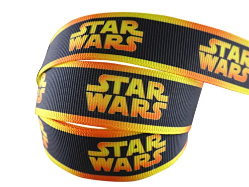 2m x 22mm New STAR WARS BLACK WITH YELLOW STRIPE GROSGRAIN RIBBON FOR BIRTHDAY CAKES WRAPPING CARDS by Pimp My Shoes