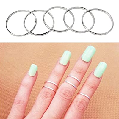 Mokingtop Fashion 5pcsset Rings Urban Silver Stack Plain Cute Above Knuckle Ring Band Midi Ring from mokingtop