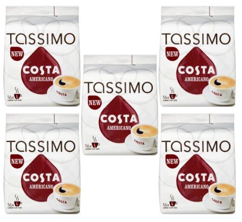 Tassimo Costa Coffee capsules Americano 80 T-Discs (5 packs of 16)