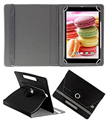 Acm Rotating 360° Leather Flip Case For Lava Ivory M4 Cover Stand Black