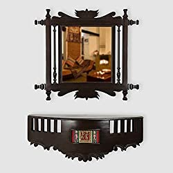 ExclusiveLane Teak Wood Royal Wall Mirror & Shelf In Walnut Brown -Wall Dcor Home Dcor Wall Hanging Mirror For Home