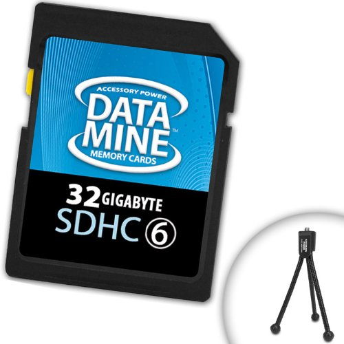 DataMINE 32GB SDHC Class 6 Memory Card Featuring DataSAFE Technology for your Panasonic Lumix Digital Cameras ***Includes Mini Tripod