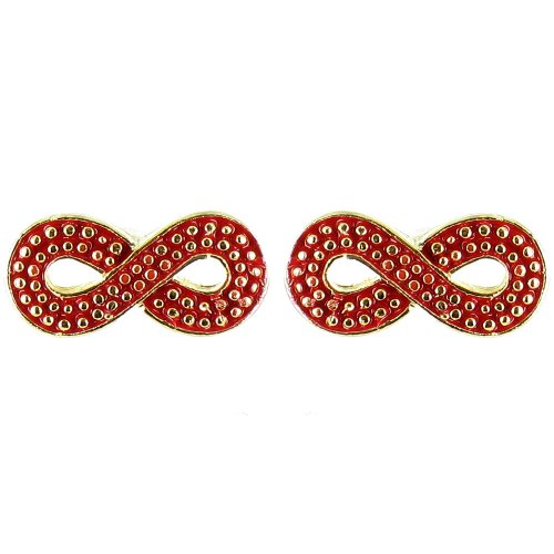 Red On Gold Plated Small Infinity Symbol Earrings front-560587