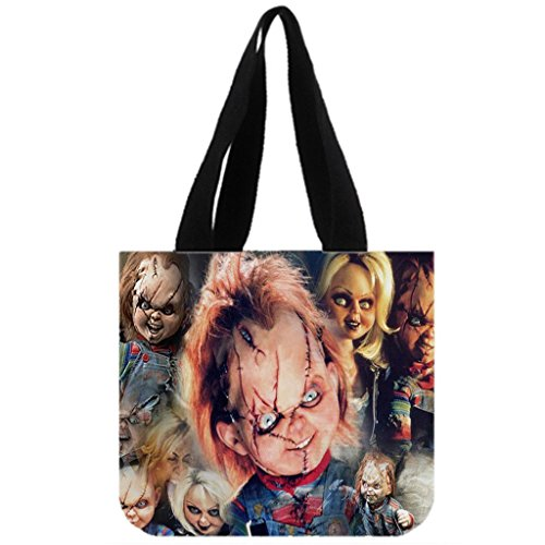 Angelinana Fashion Chucky doll Printed Canvas Girl And Women Shopping Bag Two Side Tote Bag