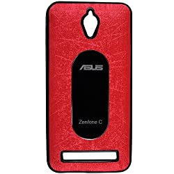 Casotec Metal Back TPU Back Case Cover for Asus Zenfone C ZC451CG - Red
