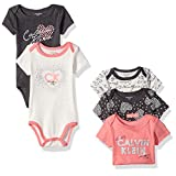 Calvin Klein Baby Girls' 5 Pack Assorted Bodysuits, Gray/Coral, 3-6 Months