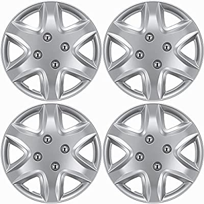 "OxGord Hubcaps For Honda Civic 2003-2005 Set of 4 Pack Auto Wheel Covers, Aftermarket Factory Replacement with High Quality ABS Silver Plastic Fits 14"" Inch Car Tire with 4 Lug Nuts"