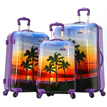 Olympia Luggage Palm Beach 3 Piece Polycarbonate Hardcase Set, Plum, One Size