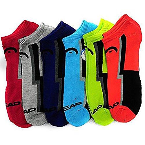 HEAD 6-Pack Men's Sport No Show Socks, Assorted, 10-13 (Shoe Size 6-12.5)