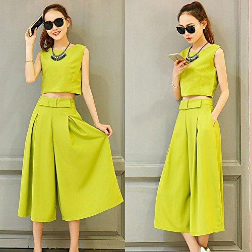 KTK/ Estate abiti. celebrità femminile coreano moda manica corta piccoli campi respirano dolce. gamba larga pantaloni slim temperamento. twin set , green , xl