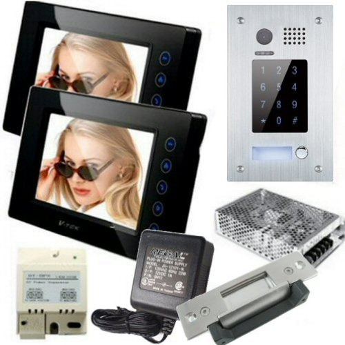 "2 Wire 2 Monitor 7"" Video Intercom Flush Mount Backlit Keypad Doorphone And Electric Door Strike"