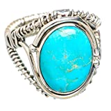 Tibetan Turquoise, Turquoise Tibétaine Argent Sterling 925 Bague 7.75