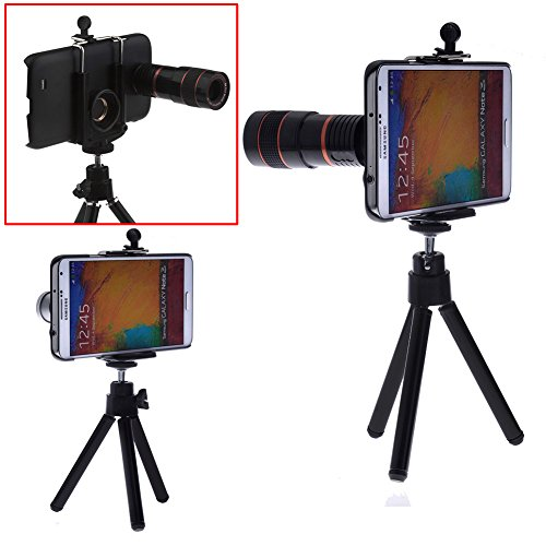 Neewer® Camera Lens Kit For Samsung Galaxy Note 3 N9000 Including 8X Telephoto Lens / Fisheye Lens / Wide Angle Lens / Macro Lens / Mini Tripod / Universal Phone Holder / Protective Hard Case / Velvet Phone Bag / Microfiber Cleaning Cloth - Awesome Photog