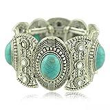 SunIfSnow Retro Silver Carved Oval Turquoise Six Rhinestone Wide Bracelet