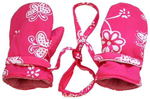 Baby Girls Fleece Mittens Pink Butterfly Large