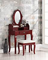 3-Piece Wood Make-Up Mirror Carved Vanity Dresser Table and Stool Set, Cherry
