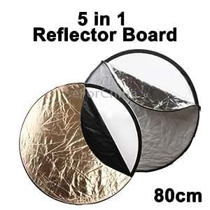 5 in 1 (Silver / Translucent / Gold / White / Black) Folding Reflector Board (80cm)