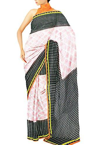 Unnati Silks Women Jute Chanderi Sico Black and White Saree