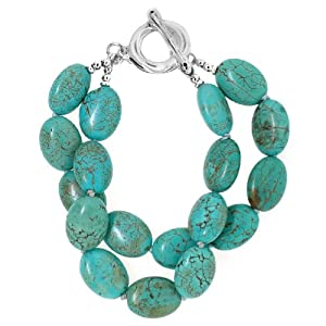Sterling Silver Turquoise Double Strand Bracelet with Toggle Closure