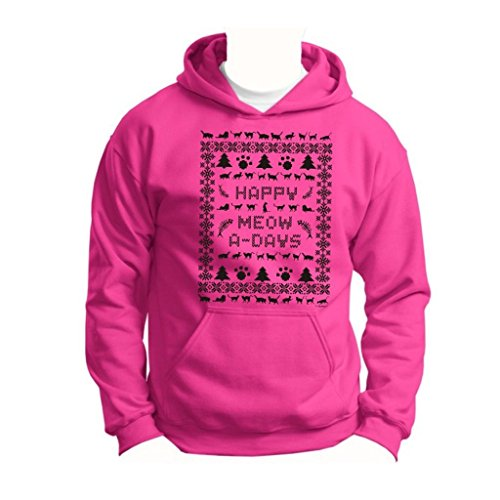 Ugly Christmas Sweater Cat Lover'S Youth Hoodie Sweatshirt Small Heliconia