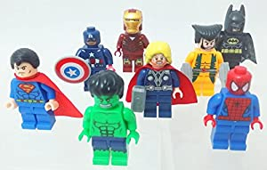 New Set of 8 Lego Compatible Superheroes Spiderman Superman Batman Wolverine Hulk Thor Captain America Iron Man Minifigures **US SELLER**