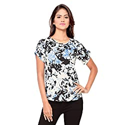 Ossi Regular Fit White Floral Short Sleeve top (HS3080-S)