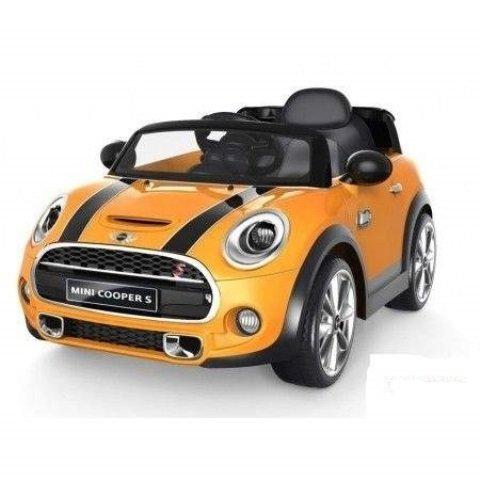 auto-elettrica-12v-per-bambini-mini-cooper-colore-arancione-con-radiocomando-parentale-luci-e-suoni-