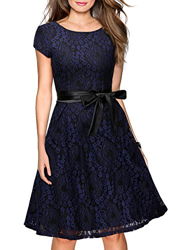 Miusol Women's Vintage Floral Lace Contrast Bow Cocktail Evening Dress (Large, Navy Blue and Black)