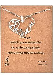 MJartoria Filigree Cubic Zirconia MOM Heart Pendant Necklace