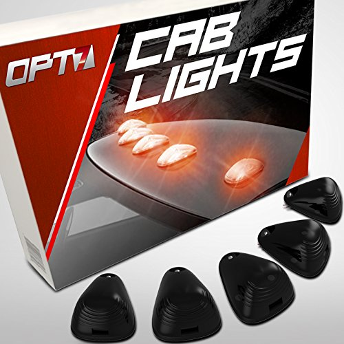 OPT7 5pc Smoked LED Cab Clearance Lights - Be Seen at Night - Water Resistant 1 Year Warranty - Roof Mount [Amber] Top Marker Running Lamps (Teardrop Cab Lights compare prices)
