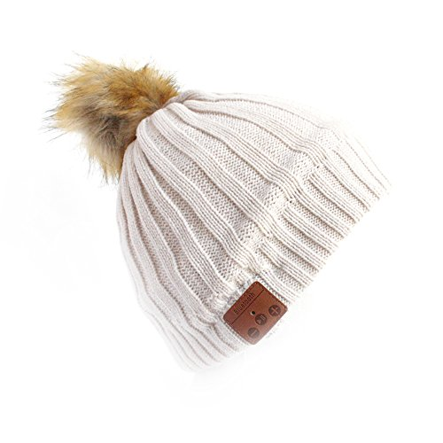 Bluetooth 4.1 Beanie, LAYEN Funky Winter Knit Headphones Hat for Wireless Music Streaming. Ideal for Walking Jogging Running Commuting Skating Skiing Snowboarding Outdoor Sports. Christmas Gift (Cream Bobble)