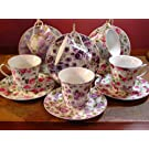 Chintz Porcelain Adult Size Tea Cups & Saucers, Set of 6 Assorted Floral Patterns