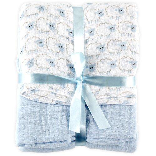 Hudson Baby ハドソンベビー Muslin Swaddle Blanket 2pk モスリンブランケット 2枚入り Blue sheep ブルーシープ