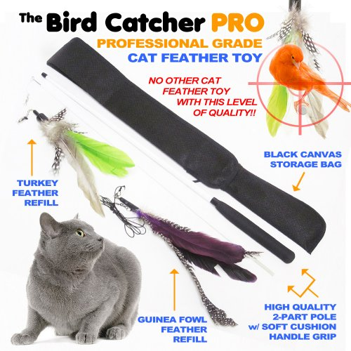See The Bird Catcher Pro - Best Interactive Cat Toy Super Wand Fishing Pole Teaser with Two (2) Feather Refill Replacement Pack like the Original Go Cat or Da Bird! Fun Dancer Dangler Chaser Charmer (for Indoor Kittens Young or Older Cats) to Run Play Chase! Guaranteed Addictive & Good Feline Training Exercise for Cats