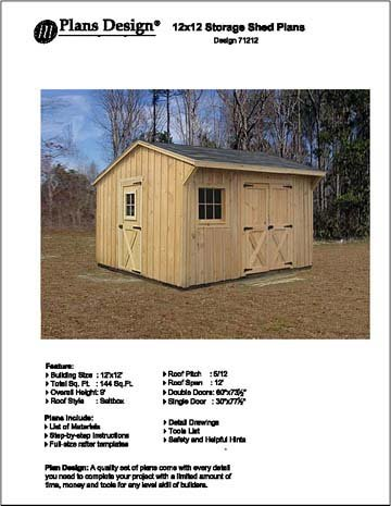 12 X 12 Saltbox Style Storage Shed Project Plans Design