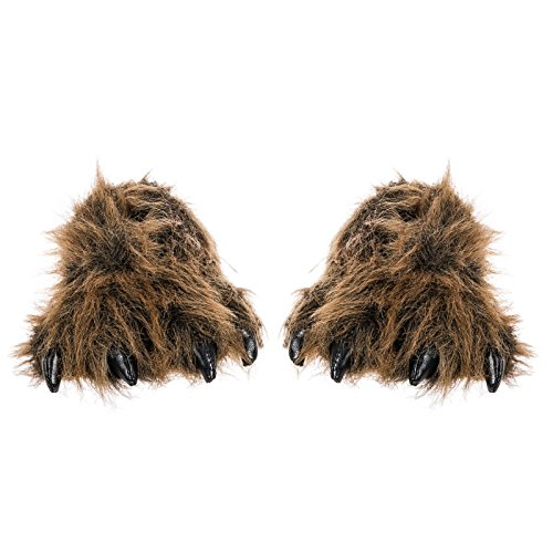 Wishpets Grizzly Bear Paw Slippers w/ Black Claws (Brown, Large) (Cool Slippers For Women compare prices)