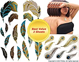 Feather Design Metallic Gold Silver Black Bling Temporary Tattoos (Pheasant&Peacock)
